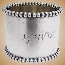 Napkin Ring Beaded Rims Sterling Silver 1910