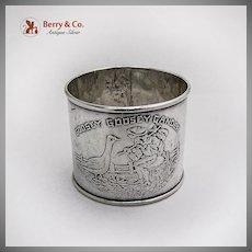 Nursery Rhyme Napkin Ring Goosey Goosey Gander Sterling Silver 1920