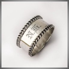 Napkin Ring Sterling Silver Braided Borders 1910