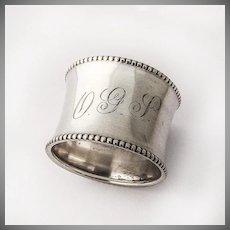 Napkin Ring Beaded Rims Sterling Silver Gorham Silversmiths 1900