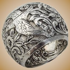 Napkin Ring Floral and Bird Chased Decorations Coin Silver 1880