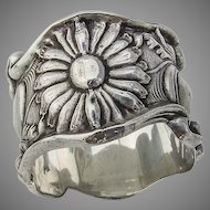 Napkin Ring Floral Design Double Wall Sterling Silver 1900