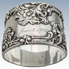 Napkin Ring Sterling Silver Floral and Scroll Decorations Frank Whiting 1901