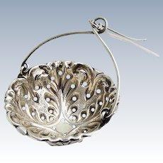 Tea Strainer Basket Spout Insert Repousse Sterling Silver Simon Bros 1900