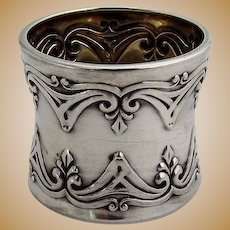 Napkin Ring Ornate Decorations Sterling Silver 1900