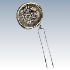 In Spout Tea Strainer Scroll Decorations Sterling Silver 1900