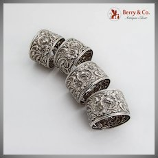 Repousse 4 Napkin Rings Sterling Silver Kirk 28