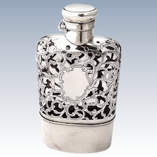 Flask Sterling Silver Overlay Glass Gorham Silversmiths 1895
