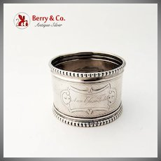 Napkin Ring Coin Silver Engine Turned 1860