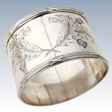 Napkin Ring Sterling Silver Engraved Thistles Birmingham 1910