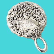 Heraldic Hand Mirror Sterling Silver Whiting 1880