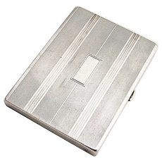 Rectangular Compact Mirror Patch Box Sterling Silver Blackinton 1930
