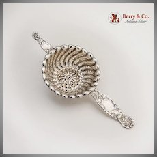 Heraldic Tea Strainer Sterling Silver Whiting 1880
