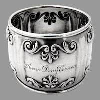 Ornate Bellied Napkin Ring Sterling Silver Gorham Silversmiths 1900