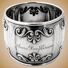 Ornate Bellied Napkin Ring Sterling Silver Gorham Silversmiths 1900