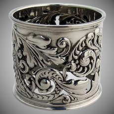 Large Ornate Napkin Ring Open Work Repousse Decorations Gorham Sterling Silver