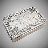 Snuff Box Coin Silver Presentation Engraving 1870