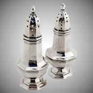 Octagonal Salt and Pepper Shakers Sterling Silver
