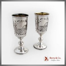 Russian Vodka Shot Glasses 2 Engraved Landscape 84 Standard Silver