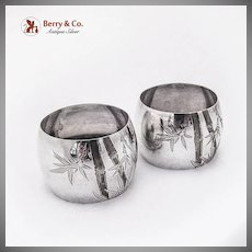 Pair of Napkin Rings Bamboo Engravings Sterling Silver 1930