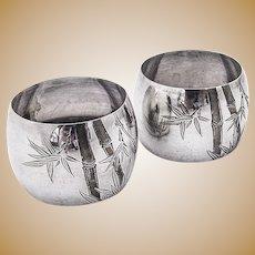 Pair of Napkin Rings Bamboo Engravings Sterling Silver 1930