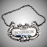 Bourbon Bottle Tag Sterling Silver 1950