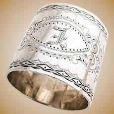 Napkin Ring Floral Engraved Decorations Sterling Silver