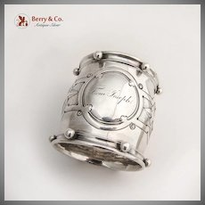 Large Napkin Ring Aesthetic Style Coin Silver 1861