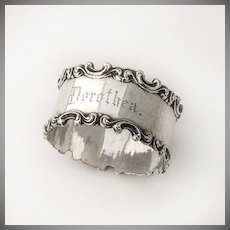Napkin Ring Ornate Scroll Applied Borders Sterling Silver 1900