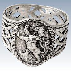 Napkin Ring Lion Passant Crest Openwork Design Scottish Sterling Silver