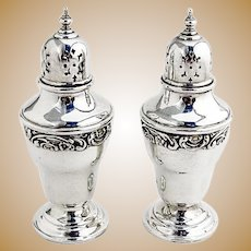Rose and Scroll Salt and Pepper Shakers Sterling Silver Gorham