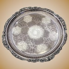 Baroque Round Gallery Tray Silverplate Wallace