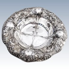 Ornate Floral Bowl Sterling Silver Gorham Silversmiths 1900