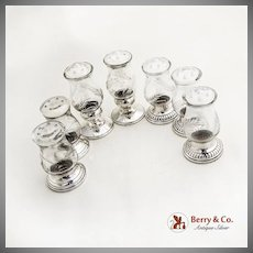 Salt and Pepper Shakers 7 Sterling Bases Etched Glass Bodies