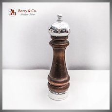 Large Pepper Grinder Hardwood Sterling Silver Boardman