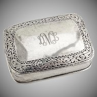 Pill Box Sterling Silver Rectangular Scroll Engravings Monogram DML