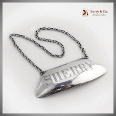 Sherry Liquor Bottle Tag Label Sterling Silver