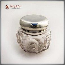 Dresser Jar Sterling Silver Acid Etched Glass Body