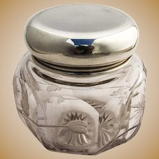 Large Antique 19c French Sterling Silver Beveled Glass