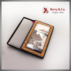 Japanese Large Cigarette Case Landscape Designs Sterling Silver 1930