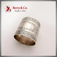 Aesthetic Napkin Ring Coin Silver Engraved Designs 1880