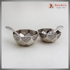 Pair Open Salt Dishes and Spoons Octagonal Design 900 Silver