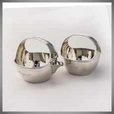 Modern Creamer and Sugar Bowl Sterling Silver Andrews and Winsten