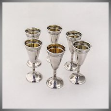 Cordial Cups Set of 6 800 Silver Germany 1890