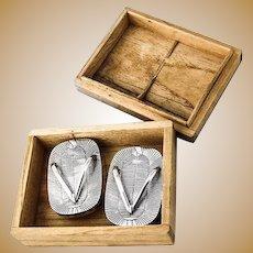Japanese Salt and Pepper Shakers Sandals Flip Flop Sterling Silver