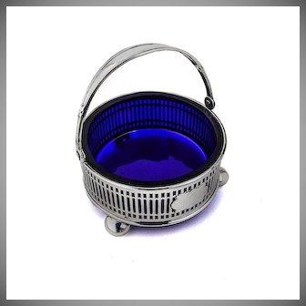 Swing Handle Basket Cobalt Glass Liner Dominick and Haff Sterling Silver
