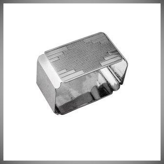Art Deco Rectangular Napkin Ring Sterling Silver Birmingham 1939