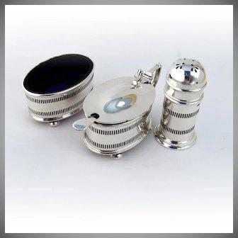 Open Salt Cellar Pepper Shaker Mustard Pot Spoon Sterling Silver Cobalt Blue Glass