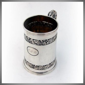 Chinese Export Silver Cup Branch Handle A WING 1890