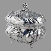 Ornate Covered Sugar Box 830 Silver Swedish Import Marks